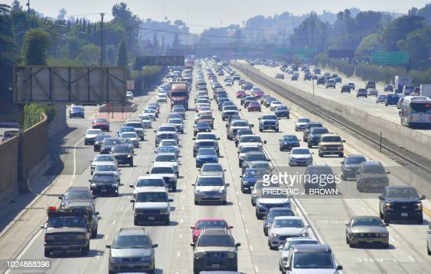 Auto traffic flows in and out of Los Angeles California one of the worst trafficcongested cities in the country on August 28 2018 Shares of big US...