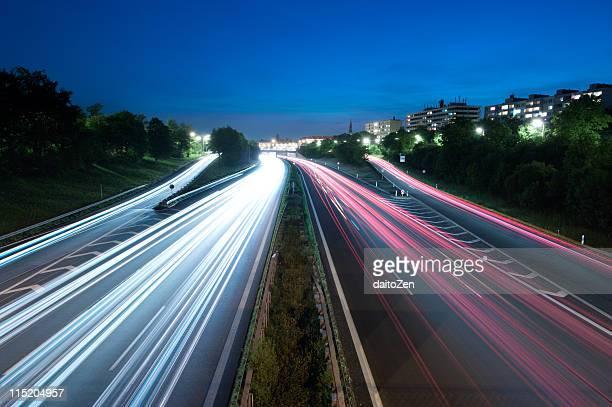 Autobahn light trails