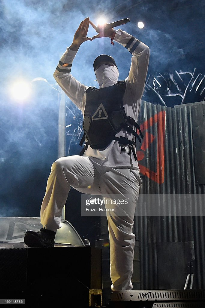 DJ Autobot of Flosstradamus performs onstage during day 2 of the 2015 Coachella Valley Music & Arts Festival (Weekend 1) at the Empire Polo Club on April 11, 2015 in Indio, California.