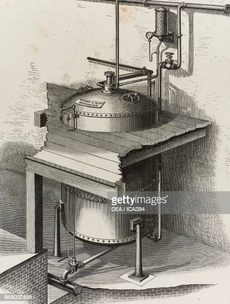Autoclave for bleaching rags in boiling soda produced by Mather Platt Manchester United Kingdom illustration from L'Industria Rivista tecnica ed...