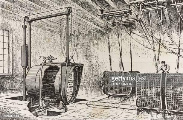 Autoclaves for bleaching fabrics Mather system illustration from L'Industria Rivista tecnica ed economica illustrata Milan 1888