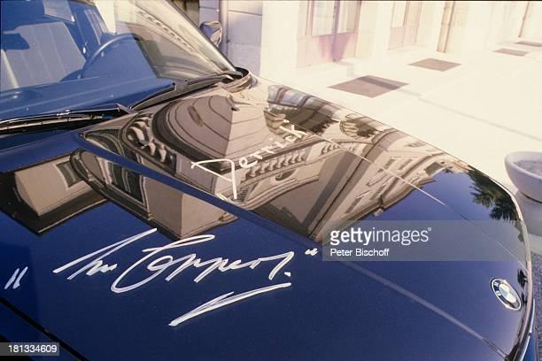 Autogramm von H o r s t T a p p e r t Urlaub Gardasee während seiner traditionellen Drehpause zur ZDFSerie Derrick Gardasee Italien Auto PKW BMW...