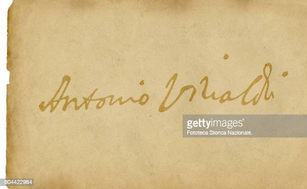Autograph by Antonio Vivaldi italian composer and violinist Facsimile by computer graphic Italy Milan 2017