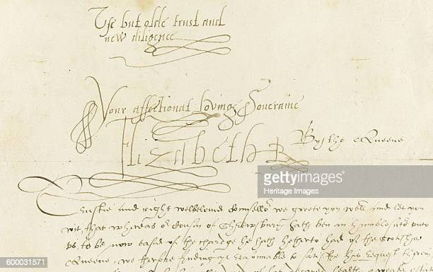 Autograph Letter by Queen Elizabeth I to Mary, Queen of Scots, 1584. Private Collection. Artist : Historic Object.