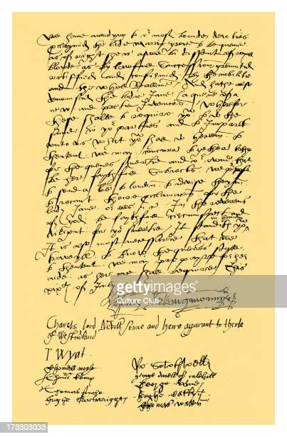 Letter from Henry Neville Lord Abergavenny Charles Neville Lord Neville Sir Thomas Wyat and nine other gentlemen of Kent to Sir Nicholas Pelham and...