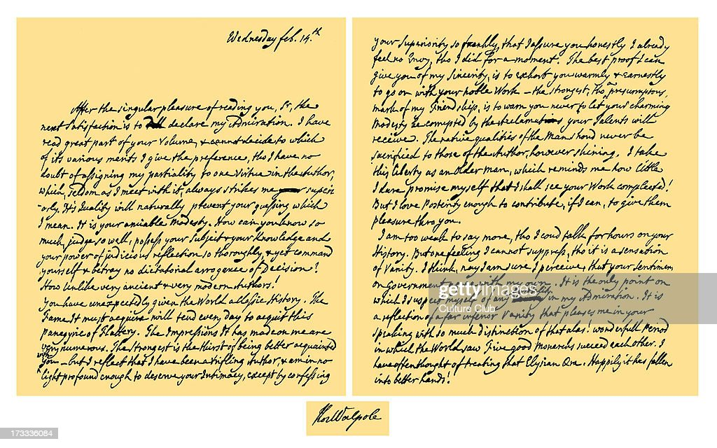 Letter From Horace Walpole To Edward Gibbon, Expressing Admiration For The  First Volume Of His
