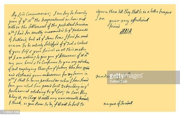 Letter from Queen Anne to John Hay Marquess of Tweeddale and High Commissioner to the Parliament of Scotland on the opposition in the parliament to...