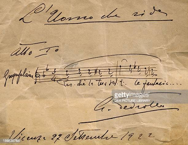 Autograph music score of The Man Who Laughs by Arrigo Pedrollo Act I Vicenza Biblioteca Civica Bertoliana