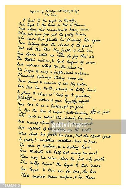Original manuscript of the Epilogue to Tennyson's 'Idylls of the King', addressed to Her Majesty the Queen. First line: 'O loyal to the royal in...