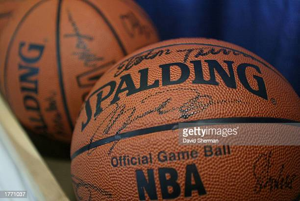 Autographed basketballs signed by Michael Jordan of the Washington Wizards are displayed during the AllStar practice session on February 8 2003 at...