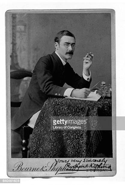 Autographed Picture of Writer Rudyard Kipling Holding Cigar