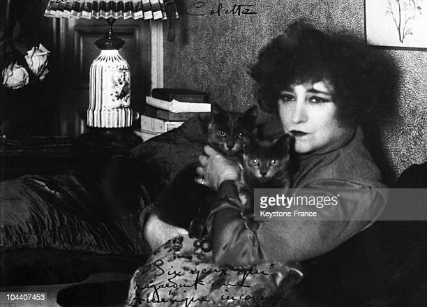 Autographed portrait of the French writer COLETTE for Columbia University in the US in 19051920 The autograph Six eyes looking at an unknown America...