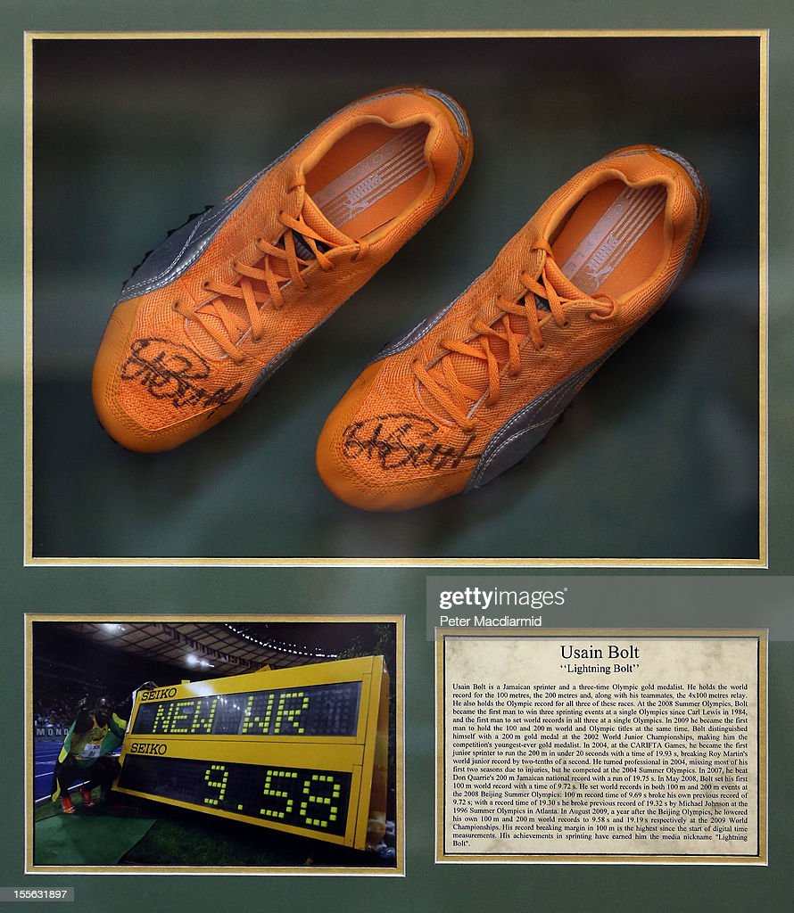 Autographed Usain Bolt track shoes are shown at Sotheby's on November 6, 2012 in London, England. Graham Budd auctioneers are holding a two day sale of Sporting Memorabilia at Sotheby's in London on 5-6th November 2012.
