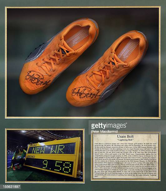 Autographed Usain Bolt track shoes are shown at Sotheby's on November 6 2012 in London England Graham Budd auctioneers are holding a two day sale of...