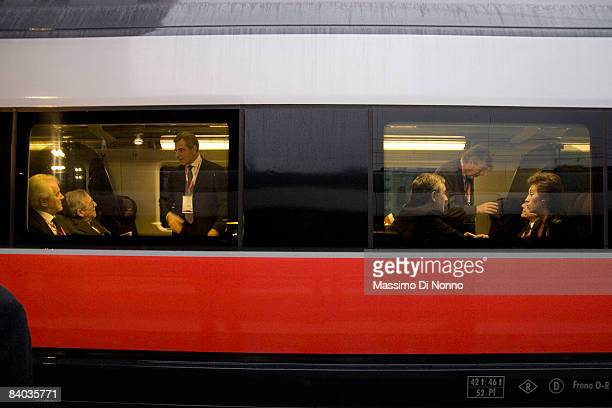 Autogrill President Gilberto Benetton Italian National Railways CEO Mauro Moretti European Commissioner for Transport Antonio Tajani and Milan Mayor...