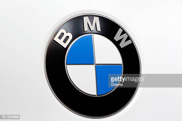 BMW automaker's logo is displayed during the second press day of the Paris Motor Show on September 30 in Paris France The Paris Motor Show will...