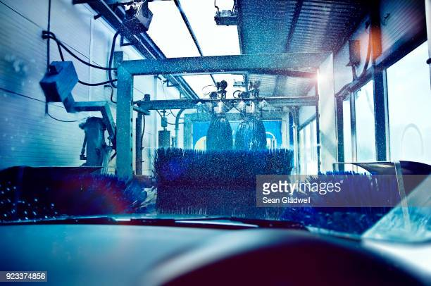 automated car wash - car wash brush stock photos and pictures