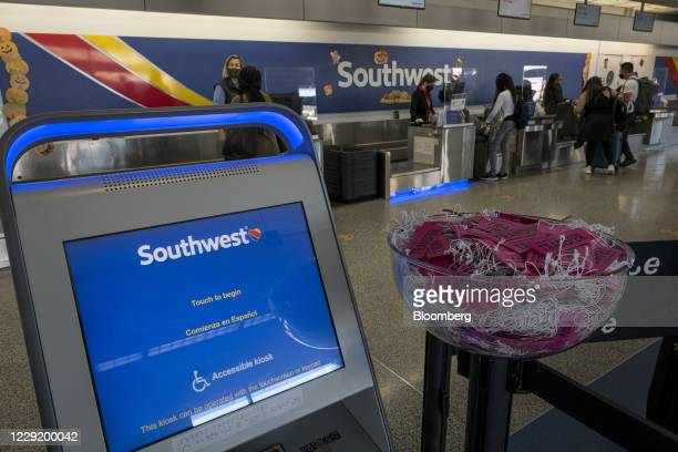 Automated check-in kiosk at a Southwest Airlines Co. Check-in area at Oakland International Airport in Oakland, California, U.S., on Monday, Oct. 19,...