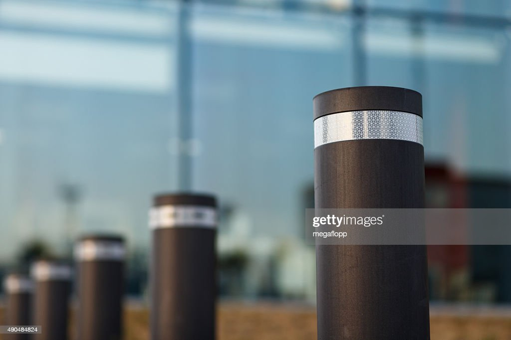 Automated cylindrical road block : Stock Photo