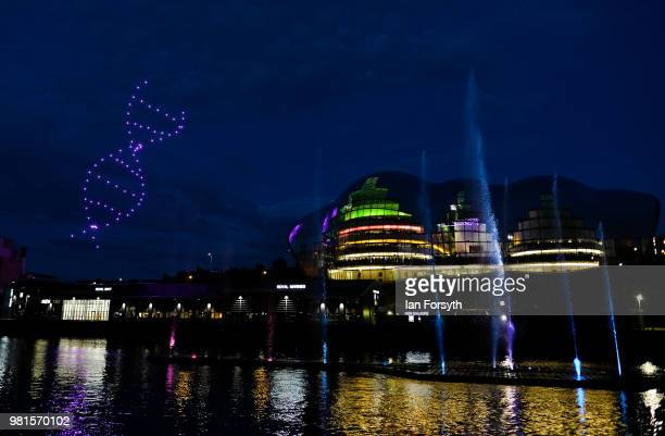 Automated drones are used to perform an aerial display during the opening ceremony of the Great Exhibition of the North on June 22, 2018 in Newcastle...