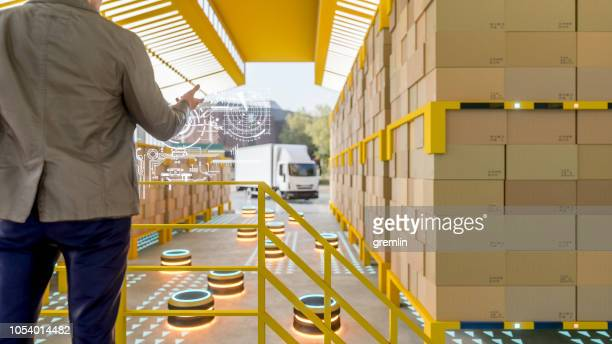 Automated robot carriers in modern distribution warehouse