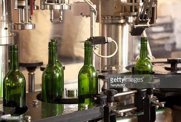 Automated Wine Bottling on Conveyor Belt in Factory