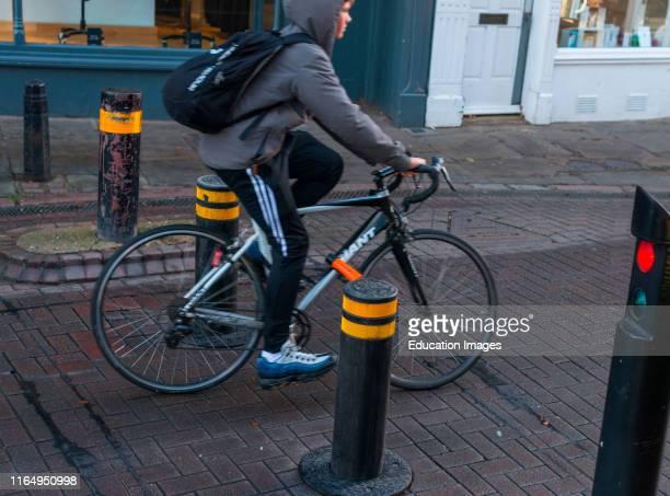 Automatic rising bollards to restrict traffic in Cambridge city center Cambridgeshire England UK