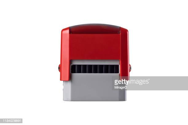 Automatic Rubber Stamp on White Background.