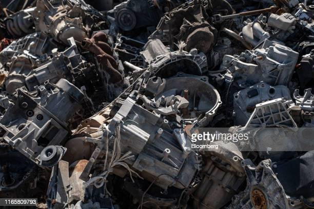 Automobile and truck gearboxes sit at the Boudou Recycling scrapyard in Salles-La-Source, France, on Monday, Sept. 2, 2019. Slowing demand for gas...