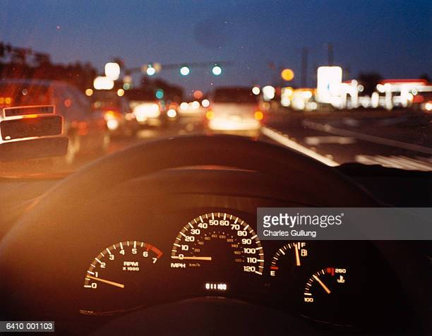 Automobile Dashboard at Night