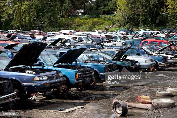 automobile junkyard. - obsolete stock pictures, royalty-free photos & images