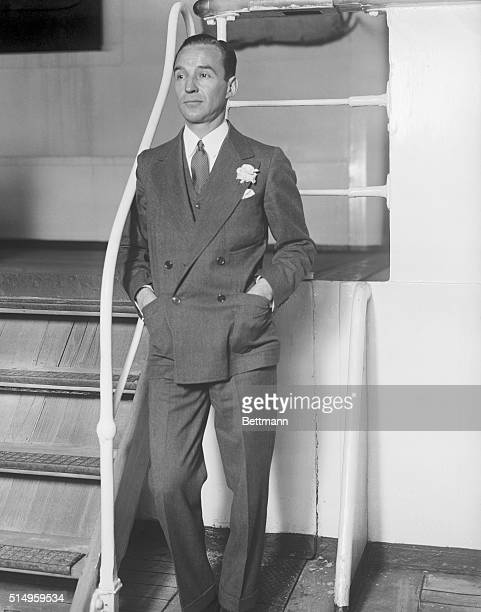 Automobile magnate sails for Europe...Edsel Ford, son of Henry Ford, shown as he sailed for Europe on the S.S.Aquitania.