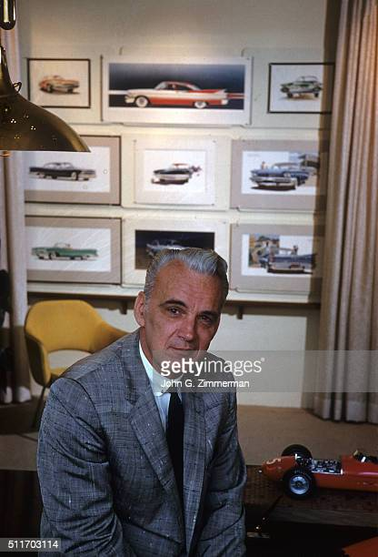 Portrait of Chrysler chief stylist Virgil Exner posing at his desk during photo shoot at his office Detroit MI CREDIT John G Zimmerman