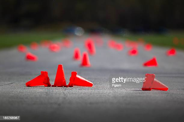 automobile speed driving test track - obstacle course stock photos and pictures