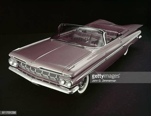 Studio shot of the 1959 Chevrolet Impala on display Detroit MI CREDIT John G Zimmerman