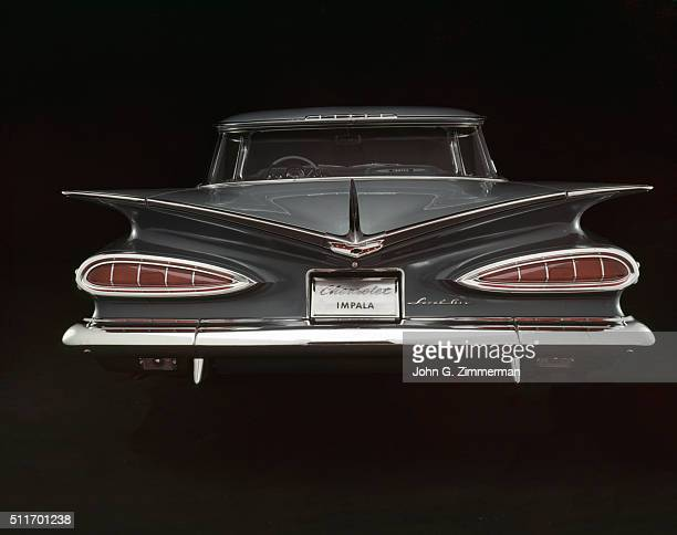 Studio shot of the rear end of the 1959 Chevrolet Impala on display Detroit MI CREDIT John G Zimmerman