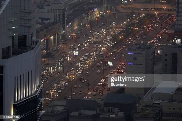 Automobile traffic moves along the King Fahd highway in the late evening in Riyadh Saudi Arabia on Tuesday Nov 29 2016 Saudi Arabia is working to...
