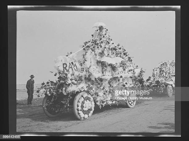 Automobiles decorated for the Memorial Day parade Chicago Illinois May 1911