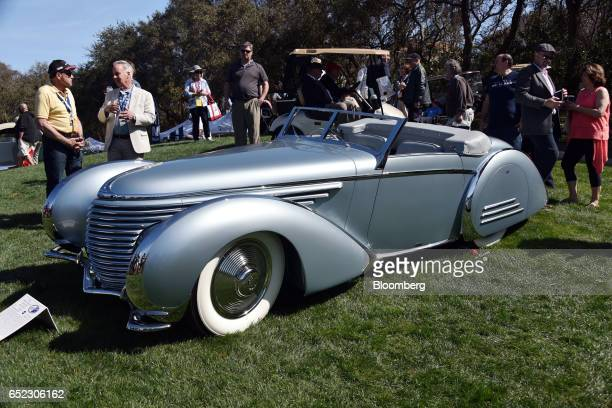 Automobiles Delahaye 145 Franay Cabriolet vehicle sits on display during the 2017 Amelia Island Concours d'Elegance in Amelia Island Florida US on...