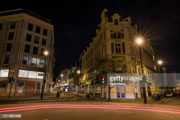 Automobiles leave light trails on the Seven Dials intersection in central London UK on Monday May 4 2020 Cabinet Office Minister Michael Gove said...
