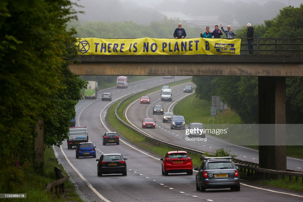 Climate Protesters Near The G-7 Summit : News Photo