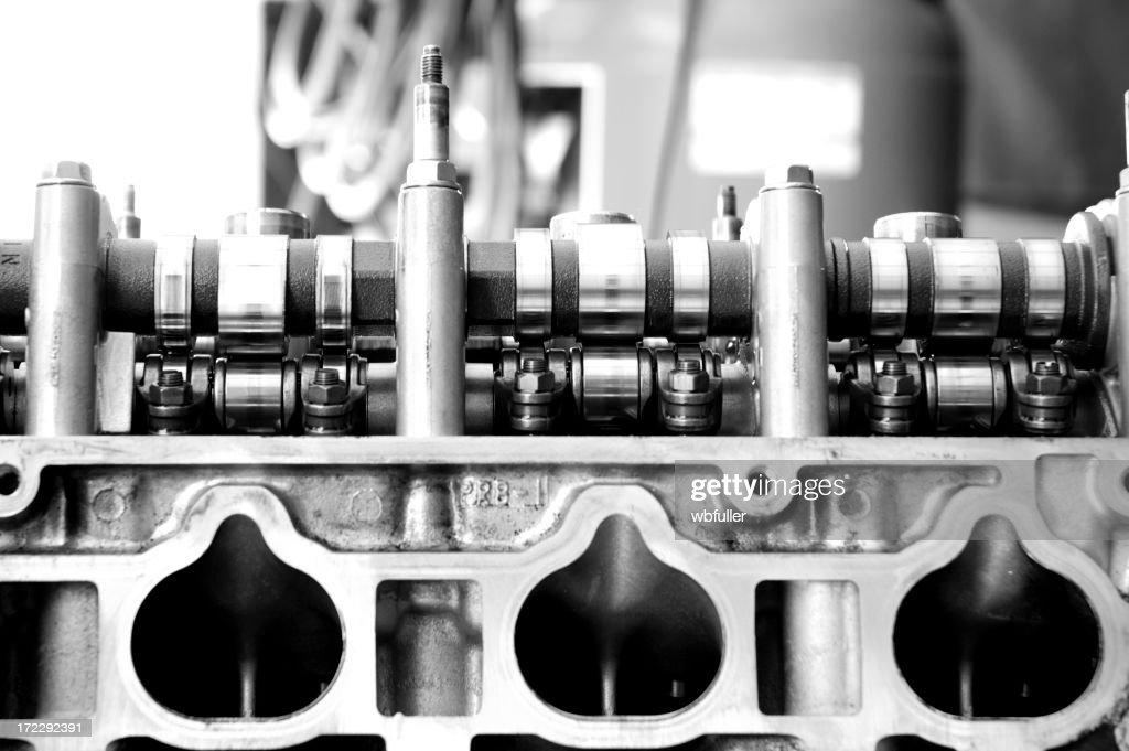 Automotive Black and White Engine : Stock Photo