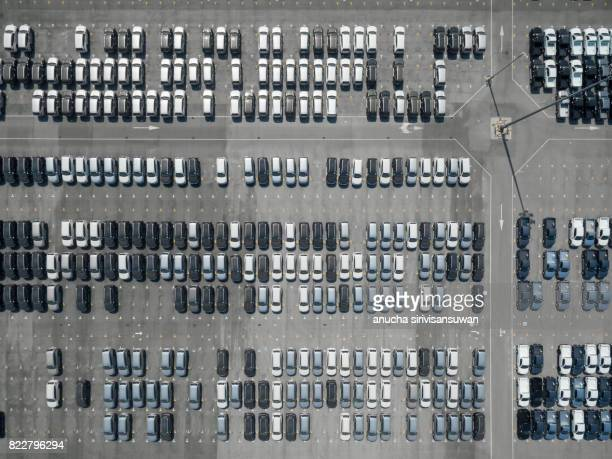 Automotive Plant The car parked on the parking lot Awaiting shipment . Topview .