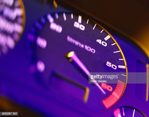 Automotive RPM counter, close-up (brightly lit)