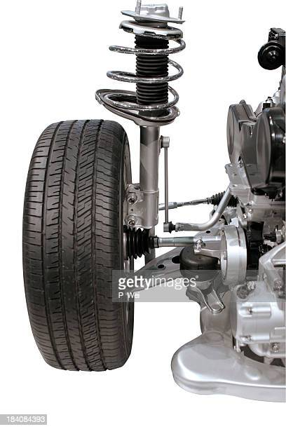 automotive: tire and shocks - suspension bridge stock photos and pictures