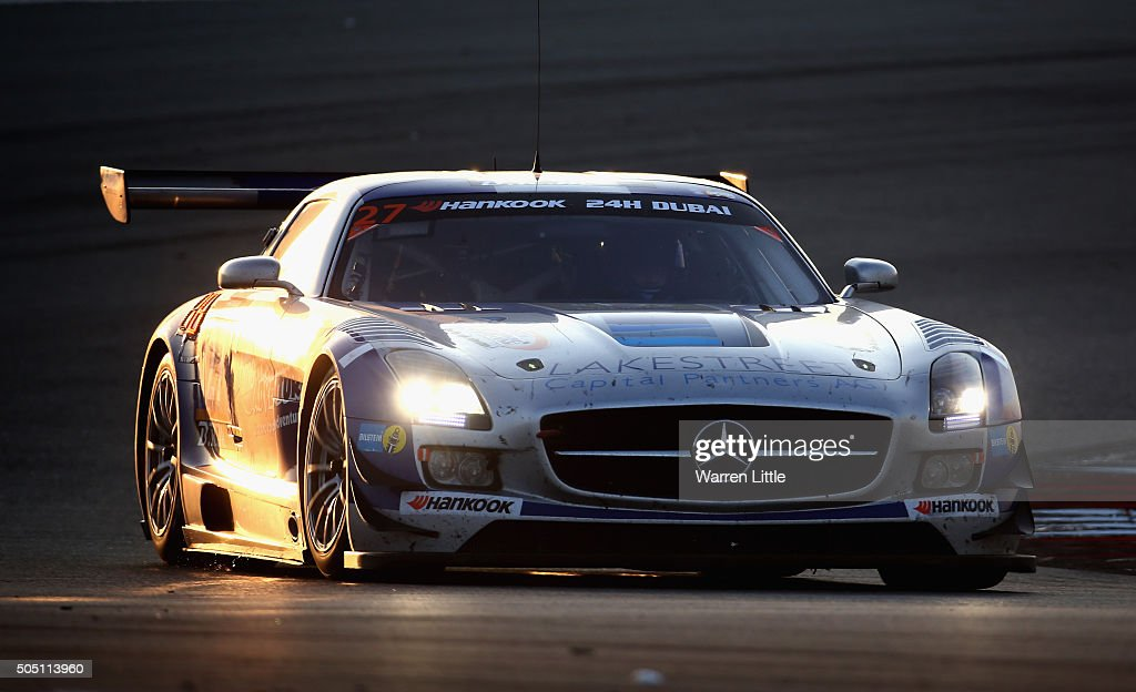 Automotive-Performance , Mercedes SLS AMG GT3 races during the Hankook 24 Hours Dubai Race in the International Endurance Series at Dubai Autodrome on January 15, 2015 in Dubai, United Arab Emirates.