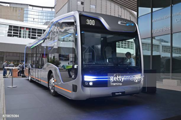 autonomous modern bus on the motor show - driverless transport stock pictures, royalty-free photos & images
