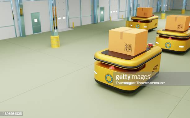 autonomous robot transportation in warehouse. ware house automation agv. technology innovation and industry concept. 3d illustration rendering - autonomous technology stock pictures, royalty-free photos & images