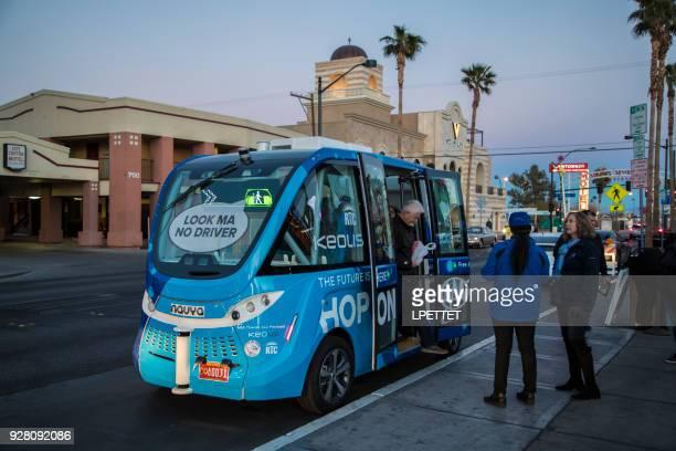 autonomous vehicle - downtown las vegas - autonomous technology stock photos and pictures