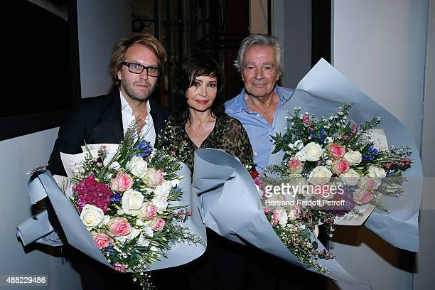 Autor of the Piece Florian Zeller with Actors of the Piece Pierre Arditi and his wife Evelyne Bouix attend 'Le Mensonge' Theater Play Held at Theatre...